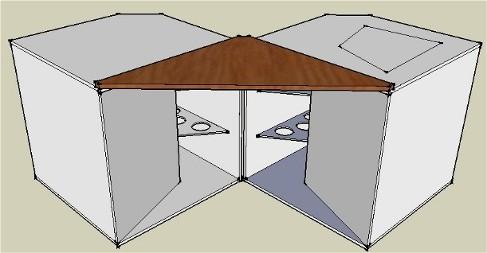 Couplage en V de deux caissons de basse à pavillon pour augmenter la sensibilité