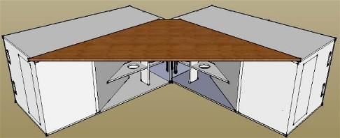 Couplage en V de deux Couplage en V de caissons de basse à pavillon pour augmenter la sensibilité