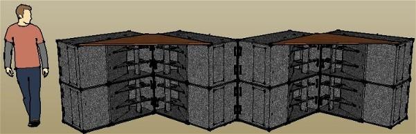 Augmenter la sensibilité des caissons de basses à pavillon par couplage en V à l'horizontale